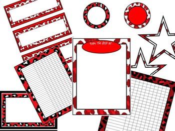 Red Cheetah Theme Classroom Decor Kit