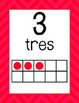 Red Chevon Spanish Ten Frame Posters & Flash Cards