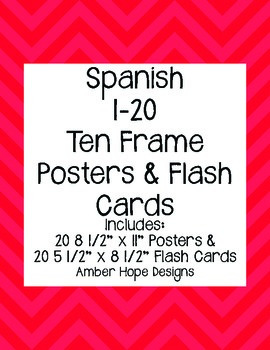 Red Chevon Spanish Ten Frame Posters & Flash Cards