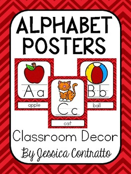 Red Chevron ABC Posters