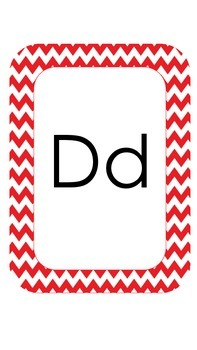 Red Chevron Alphabet Cards *Freebie*