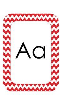 Red Chevron Alphabet Cards *Freebie*