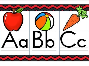 Red Chevron Alphabet Line