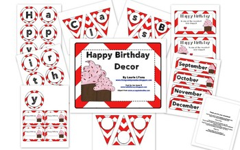 Red Chevron Birthday Tags
