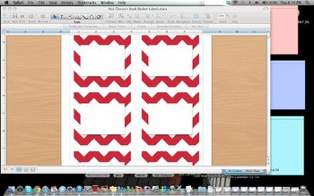 Red Chevron Book Basket Labels