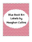 Red Chevron Book Bin Labels