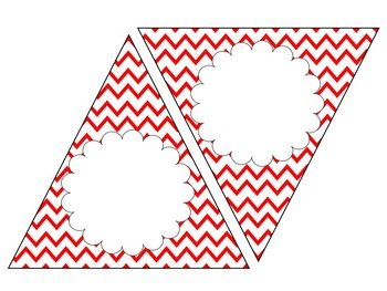 Red Chevron Bunting--EDITABLE text and size, 4 designs