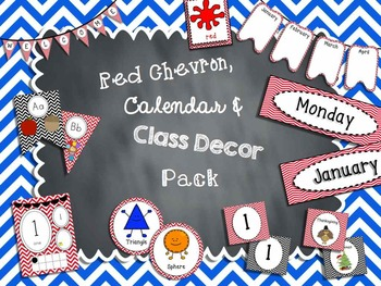 Red Chevron Calendar and Classroom Decor Pack