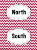 Red Chevron Cardinal Direction Cards