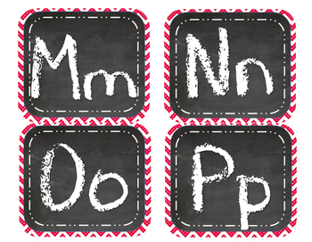 Red Chevron Chalk Alphabet