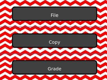 Red Chevron Chalkboard File Grade Copy