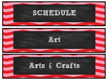 Red Chevron Chalkboard Schedule Cards
