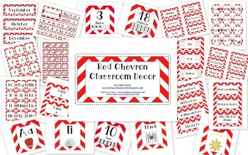 Red Chevron Classroom Decor