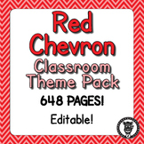 Classroom Theme Decor / Organization - Mega Bundle (Editable!) - Red Chevron