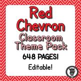 Classroom Theme Decor / Organization - Mega Bundle (Editable!) - Red Chevron