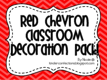 Red Chevron Classroom Decoration Pack