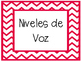 Red Chevron Classroom Labels in Spanish
