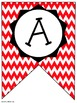 Red Chevron Classroom Pennants and Bunting (Letters, Numbe