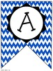 Blue Chevron Classroom Pennants and Bunting (Letters, Numbers, Punctuation, etc)