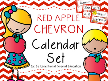 Red Chevron Complete Calendar Set