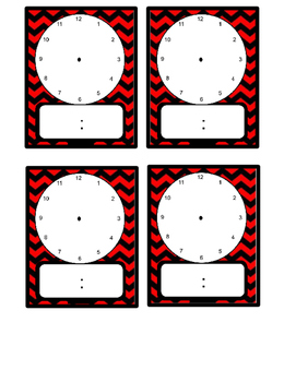 Red/Orange Chevron Daily Schedule Cards With Clocks