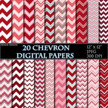 Red Chevron Digital Papers Pink Papers Zigzag Scrapbooking Printable White