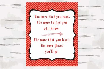 Red Chevron Dr. Seuss Quote picture, 8x10 jpg, The more you Read quote