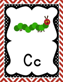 Red Chevron Manuscript ABC Posters