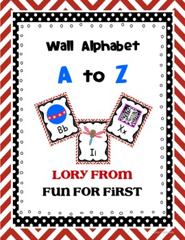 Red Chevron Manuscript ABC Posters