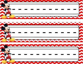 Red Chevron Mickey Name Plates