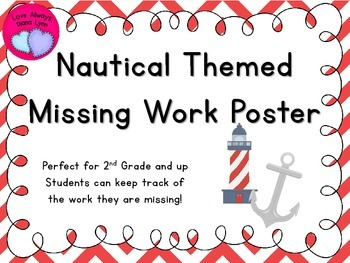 Red Chevron Nautical Themed Missing Work Chart