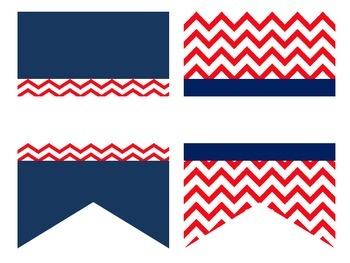 Red Chevron & Navy Anchor Patriotic Classroom Set