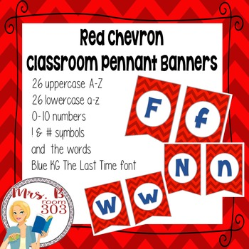 Red Chevron Pennant Banner with Blue Letters