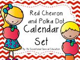 Red Chevron & Polka Dot Calendar Set