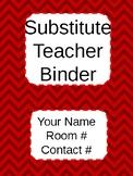 Red Chevron Subsitute Teacher Binder