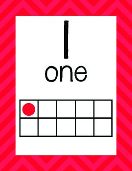 Red Chevron Ten Frame Posters and Flash Cards