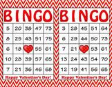 Red Chevron Valentine's Day Bingo - 100 Printable Bingo Ca