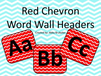 Red Chevron Word Wall Headers