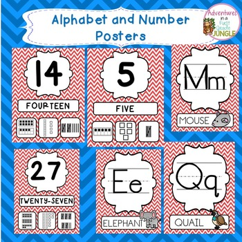 Red Chevron alphabet and Number Posters