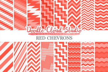 Red Chevron digital paper, Chevron and Stripes  pattern, tribal chevron, Zig Zag