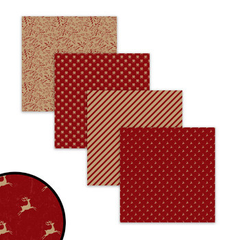 Red Christmas Digital Papers, Rustic Holiday Scrapbook Papers & Backgrounds