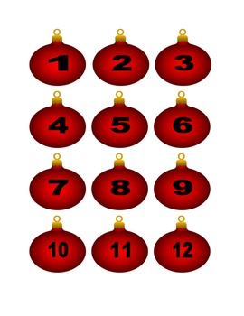Red Christmas Ornament Numbers for Calendar or Counting Activity