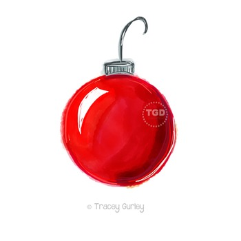 Red Christmas Ornament Watercolor Printable Tracey Gurley Designs