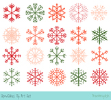 Red Christmas snowflake clipart, Snow clip art, Winter holiday clipart