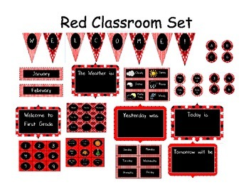 Red Classroom Decor Pack