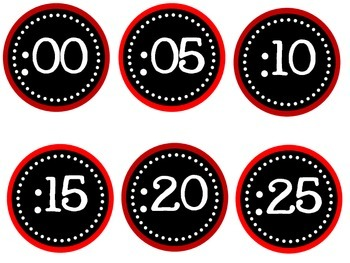 Red Clock Labels
