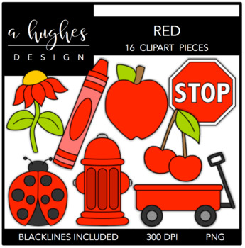 Red Color Clipart {A Hughes Design}