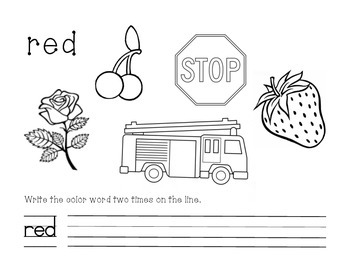 Red Color and Write Worksheet