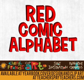 Red Comic Alphabet Art
