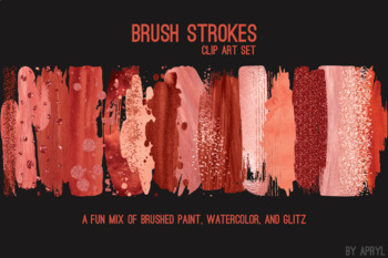 Red Coral Brush Strokes Paint Glitter Foil Watercolor 20 PNG Clip Art 12in CU S4